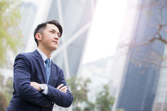 Business man smile look something Stock Images