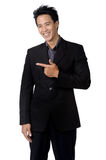 Business man  smile sign direct isolated. Business man  smile sign direct a isolated Stock Photos
