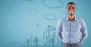 Business man smiling against blue background with city doodle Stock Image
