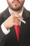 Business man smoking electronic cigarette Stock Image