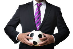 Business man with soccer ball Royalty Free Stock Photo