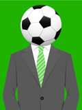 Business man with soccer ball head Stock Image