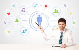 Business man with social media connection background Royalty Free Stock Photo