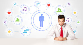Business man with social media connection background Royalty Free Stock Images