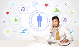 Business man with social media connection background Stock Photos