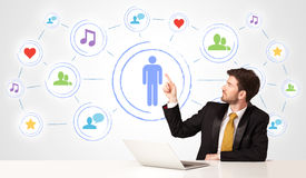 Business man with social media connection background Royalty Free Stock Photos