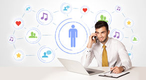Business man with social media connection background Stock Image