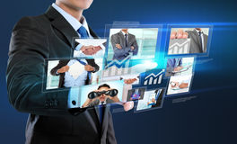 Business man with social network connection Stock Images