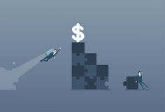 Business Man Solve Puzzle Making Stairs And Flying With Rocket To Dollar Money Success Competition Concept Stock Photos