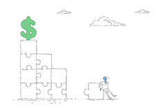 Business Man Solving Puzzle To Reach Dollar Sign Financial Success Concept Royalty Free Stock Image