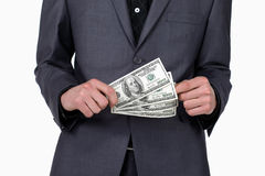 Business man with some dollars in his hands Royalty Free Stock Photos