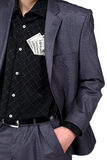 Business man with some dollars in his shirt pocket Stock Image