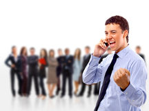 Business man with some people. On the back royalty free stock photo