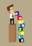 Business man sort box text as possible. Vector Stock Image