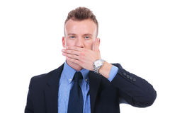 Business man speaks no evil Stock Photography