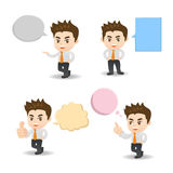 Business man with speech bubbles Stock Photo