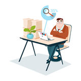 Business Man Stacked Paper Document Paperwork Magnifying Glass Data Search Stock Photo