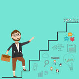 Business man on the stair for success. Vector. illustration EPS10 Stock Image