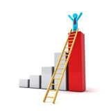 Business man standing with arms wide open on top of growth business red bar graph with wood ladder. Over white background Royalty Free Stock Images