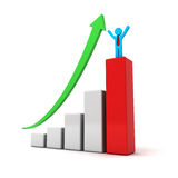 Business man standing with arms wide open up on top of growth business red bar graph with green rising arrow Stock Photos