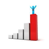 Business man standing with arms wide open up on top of growth business red bar graph. Over white background Stock Images