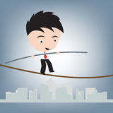 Business Man standing balance on wire or rope, risk management concept, illustration vector in flat design Royalty Free Stock Photo