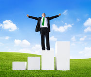 Business Man Standing on a Bar Graph with Arms Raised Stock Image