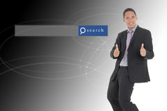 Business man standing with beautiful background with search engi. Ne graphics Royalty Free Stock Photography