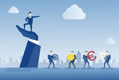 Business Man Standing On Big Businessman Hand Point Finger Leader Of Businesspeople Group Teamwork Concept Stock Image