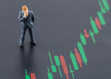 Business man standing on the candlestick stock chart Royalty Free Stock Photography
