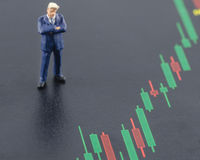 Business man standing on the candlestick stock chart Royalty Free Stock Photo