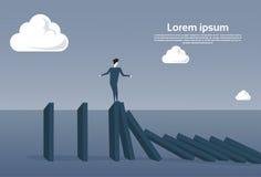 Business Man Standing On Chart Bar Falling Economic Fail Crisis Concept. Flat Vector Illustration Stock Photography