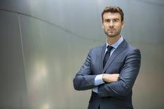Business man standing confident portrait stock images