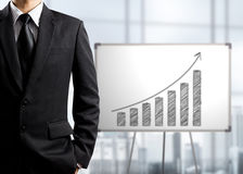 Business man standing and drawing growth chart on white board. Success concept Royalty Free Stock Photo