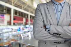 Business Man standing in front of Blur Background of Restaurant. As catering or food service business Stock Photography