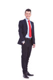 Business man standing with hand in pocket Royalty Free Stock Photo