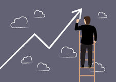 Business man standing on ladder drawing growth chart Stock Photos