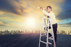 Business man standing on ladder use paper as single magnifier le Royalty Free Stock Photography