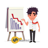 Business man standing and looking statistic arrow dawn. crisis d Royalty Free Stock Photo