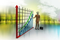 Business man standing near a financial graph Stock Photos
