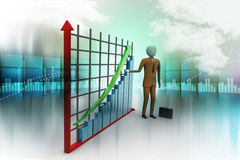 Business man standing near a financial graph Royalty Free Stock Image