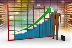 Business man standing near a financial graph Stock Photo