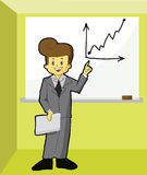 Business man standing near a white board Stock Images