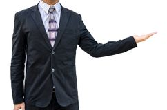 business man standing with open hand isolated on white Royalty Free Stock Photo