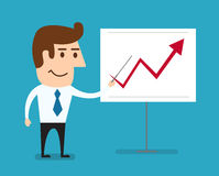 Business man standing pointing at chart growing graph. Vector Royalty Free Stock Image