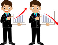 Business man. Standing pointing at chart and presentation Royalty Free Stock Photography