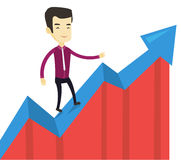 Business man standing on profit chart. Royalty Free Stock Images