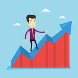 Business man standing on profit chart. Stock Photos
