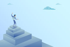 Business Man Standing On Stairs Top Finance Growth Success Concept. Flat Vector Illustration Royalty Free Stock Photos