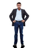 Business man standing surprised shock silhouette Royalty Free Stock Photos